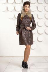 Кожаное пальто коричневого цвета. Фото 1.