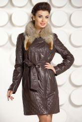 Кожаное пальто коричневого цвета. Фото 2.