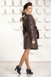 Кожаное пальто коричневого цвета. Фото 4.