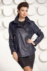 Синяя кожаная куртка Милан. Фото 3.