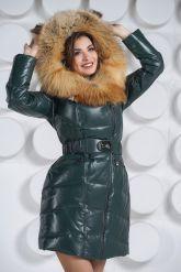 Красивый кожаный пуховик с мехом огненной лисы. Фото 1.