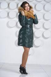 Красивый кожаный пуховик с мехом огненной лисы. Фото 2.