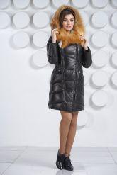Оригинальный кожаный пуховик с мехом огненной лисы. Фото 1.