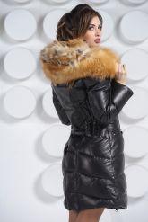 Оригинальный кожаный пуховик с мехом огненной лисы. Фото 5.