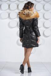Оригинальный кожаный пуховик с мехом огненной лисы. Фото 6.