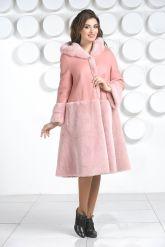 Розовая двусторонняя дубленка. Фото 1.