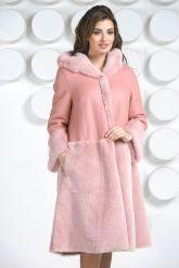 Розовая двусторонняя дубленка. Фото 2.