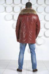 Удлиненный мужской пуховик цвета бордо. Фото 4.