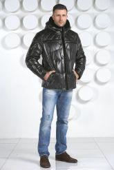 Мужской кожаный пуховик черного цвета. Фото 1.