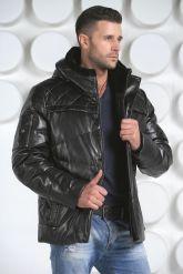 Мужской кожаный пуховик черного цвета. Фото 3.