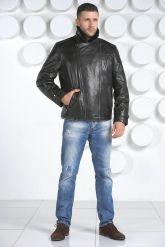 Мужской кожаный пуховик с косой молнией. Фото 1.