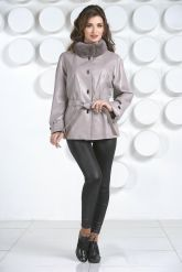 Кожаная куртка бежевого цвета. Фото 5.