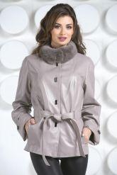 Кожаная куртка бежевого цвета. Фото 6.