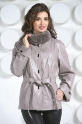 Кожаная куртка бежевого цвета. Фото 7.