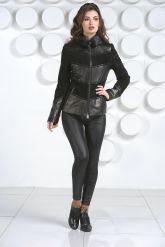 Комбинированная кожаная куртка с мехом норки. Фото 1.