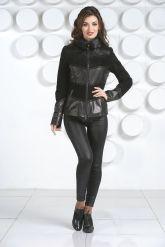 Комбинированная кожаная куртка с мехом норки. Фото 2.