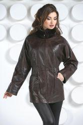 Терракотовая женская кожаная куртка. Фото 3.