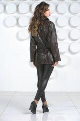 Терракотовая женская кожаная куртка. Фото 5.