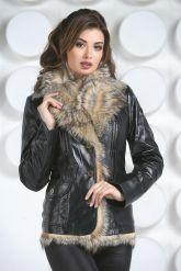 Утепленный кожаный пиджак с мехом. Фото 3.