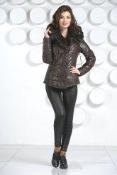 Укороченная женская куртка с мехом тоскана. Фото 1.