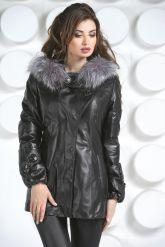 Кожаная куртка с мехом чернобурки. Фото 3.