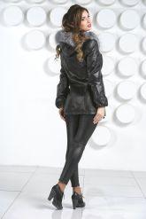 Кожаная куртка с мехом чернобурки. Фото 4.