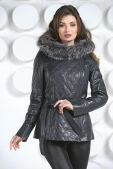 Кожаная куртка с капюшоном и мехом чернобурки. Фото 3.