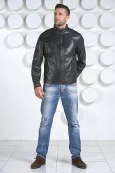 Мужская кожаная куртка синего цвета. Фото 1.