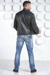 Мужская кожаная куртка синего цвета. Фото 4.