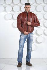 Мужская кожаная куртка на резинке. Фото 1.