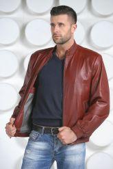 Мужская кожаная куртка на резинке. Фото 3.