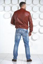 Мужская кожаная куртка на резинке. Фото 4.
