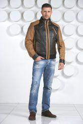 Комбинированная мужская кожаная куртка. Фото 1.