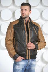Комбинированная мужская кожаная куртка. Фото 2.