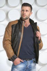 Комбинированная мужская кожаная куртка. Фото 3.