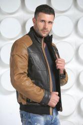 Комбинированная мужская кожаная куртка. Фото 4.