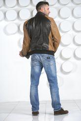 Комбинированная мужская кожаная куртка. Фото 5.