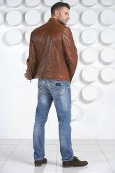 Мужская кожаная куртка рыжего цвета. Фото 4.