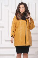 Кожаное пальто горчичного цвета. Фото 2.