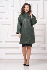Женский кожаный плащ зеленого цвета. Фото 1.