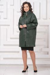 Женский кожаный плащ зеленого цвета. Фото 2.