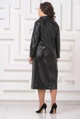Женский кожаный плащ с серебристым воротом. Фото 2.