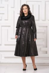 Длинное кожаное пальто FS. Фото 1.