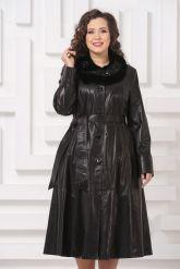 Длинное кожаное пальто FS. Фото 3.