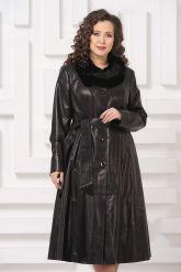 Длинное кожаное пальто FS. Фото 4.