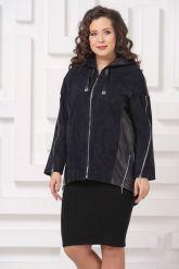 Удлиненная кожаная куртка синего цвета FS. Фото 7.