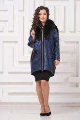 Модное кожаное пальто со съемным мехом. Фото 1.
