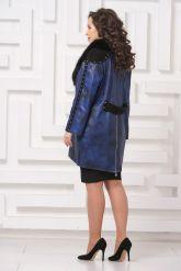 Модное кожаное пальто со съемным мехом. Фото 2.