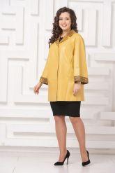 Двусторонний кожаный плащ желтого цвета. Фото 1.