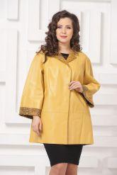 Двусторонний кожаный плащ желтого цвета. Фото 4.